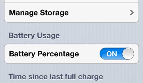 how to display battery percentage on the iphone 5
