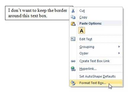 word 2010 format text box menu