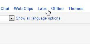 open labs menu in gmail