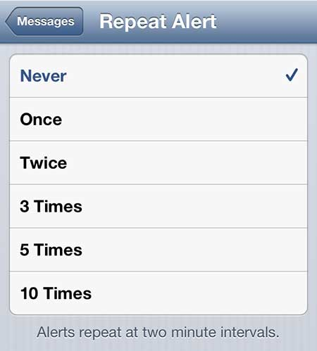 how to turn off repeat message alerts on the iphone 5