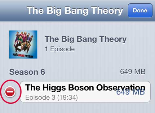 Tap the red button to the left of the episode name