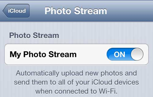 enable iphone photo stream