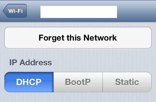 "Tap the ""Forget this Network"" button"