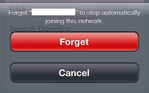 "Tap the red ""Forget"" button"
