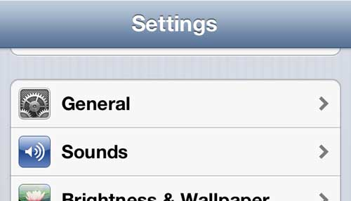 Open the iPhone 5 General menu