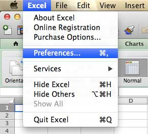 "Open the Excel ""Preferences"" menu"