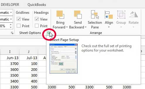 click the sheet page setup button