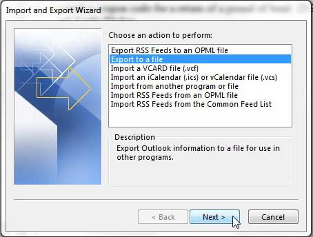 choose to export to a file