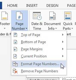 how to start number pages in word 2013