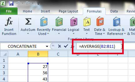how to find the average of a column in excel