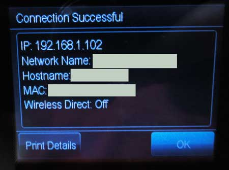 officejet 6700 successfully connected to wireless network