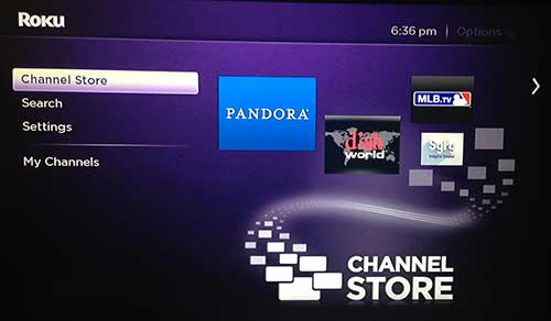 select the roku 3 channel store