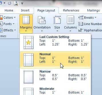 set up 1 inch margins in word 2010