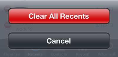 how to clear recent calls from iphone 5