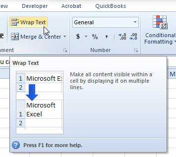 how to make text visible in one cell in Excel 2010