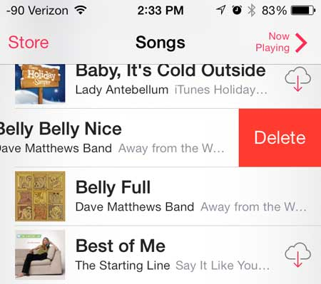 how to delete a song on the iphone 5 in ios 7