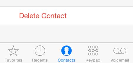 select the delete contact option