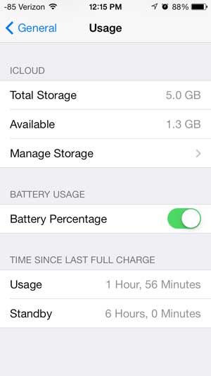 how to display battery percentage in ios 7 on iphone 5