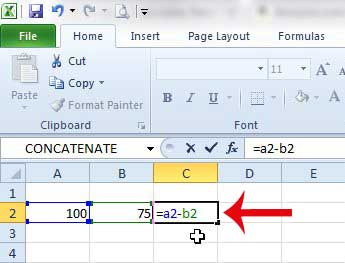 how to add a subtract formula in excel