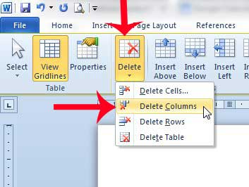 how to delete lines from a table in word