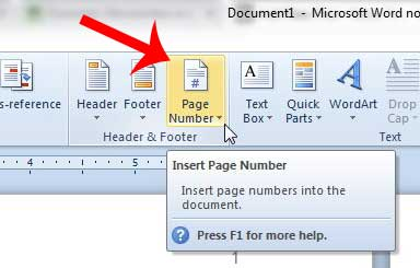 how to make page number in word 2010