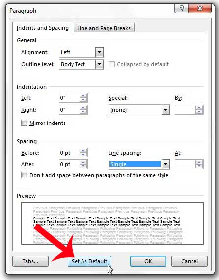 how to make double space in word